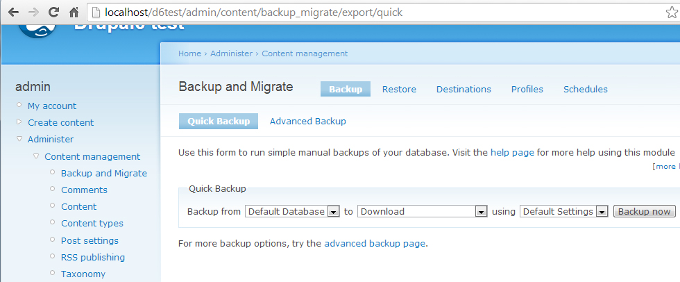 Working with Backup migrate