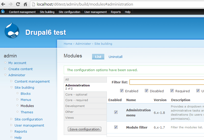 Module list page with Module filter