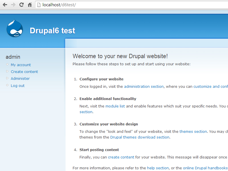 new drupal installation